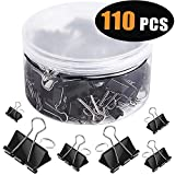 SANNIX 110 Pieces Paper Binder Clips Paper Clamps for Office Supplies 6 Assorted Sizes, Black