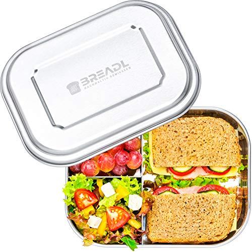 BREADL® Edelstahl Brotdose 1400ml, Spülmaschinenfest, BPA-frei, Trennwand und 3 Fächer, Lunchbox & Bento-Box für Kinder & Erwachsene zum Wandern, Schule, Arbeit, Uni