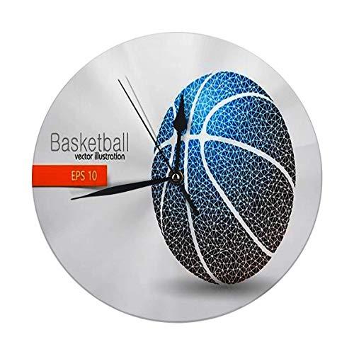 Mesllings Reloj de pared con diseño de silueta de pelota de baloncesto de triángulos de 24,86 cm