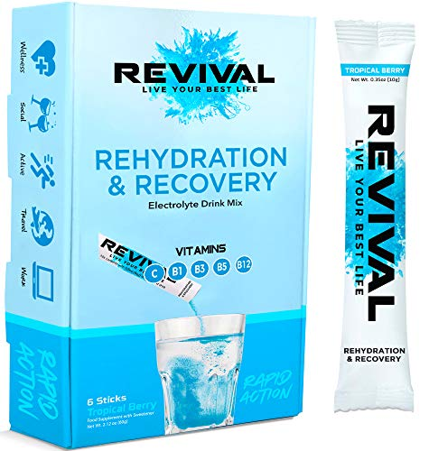 Revival Rapid Rehydration, Electrolytes Powder - High Strength Vitamin C, B1, B3, B5, B12 Supplement Sachet Drink, Effervescent Electrolyte Hydration Tablets - 6 Pack Tropical Berry