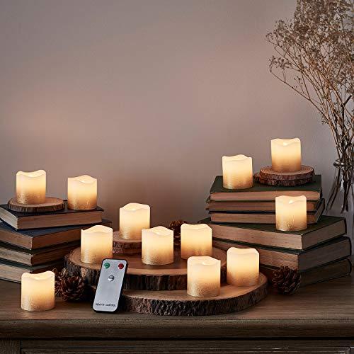 Lights4fun, Inc. - Juego de 12 velas votivas LED sin llama con mando a distancia, color dorado