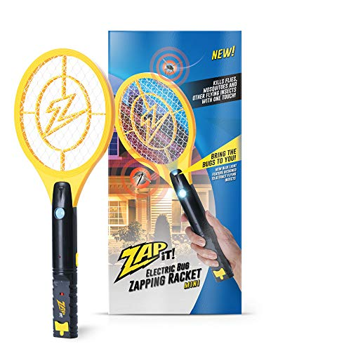 ZAP IT! Mini Bug Zapper - Rechargeable Mosquito, Fly Killer and Bug Zapper Racket with Blue Light Attractant