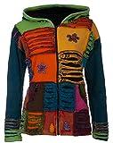 Michael Heinen Patchwork-Strickjacke   Hippie-Jacke   Modell Flower Power   Innenfutter aus Fleece   Damen   Goa-Jacket   Cutwork   Kapuzen-Sweatjacke   Individuell   Handarbeit aus Nepal