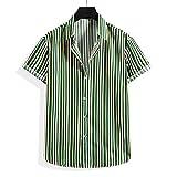 Camisa Hombres Verano A Rayas Kent Collar Hombres Camisa Playa Moda Diseño Manga Corta Hombres Camisa Hawaiana Negocios Urbanos Cómodos Hombres Camisa Casual G-007 M