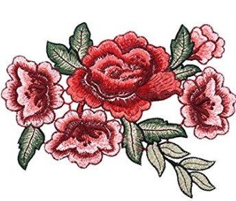Parche bordado, cara superior, para coser o planchar,1 par de rosas, flores bordadas de Oerity, para camisetas, vaqueros o como decoración de sombrero, #1, #1