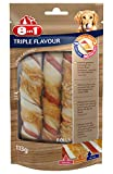 8in1 Triple Flavour Rolls Kaurollen für Hunde, Schweine- und Rinderhaut umwickelt mit Hähnchenfilet, 3 Stück, 113 g