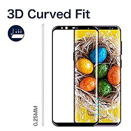 Galaxy S8 Film Protection Ecran Verre Trempé, [2 Pièces] [Full Coverage] [Ultra Claire] [Dureté 9H] Film Protecteur en Verre trempé de Haute qualité pour Samsung Galaxy S8