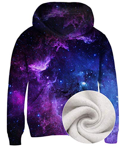Idgreatim Boys Girls Pullover Hoodie 3D Galaxy Printed Sweatshirts Long Sleeve Novelty Teen Hooded Jackets 8-10 Years