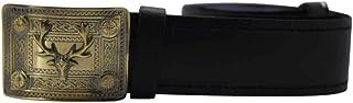 Scottish Highland Black Plain Leather Kilt Belt with Antique Stag Head Badge Buckle
