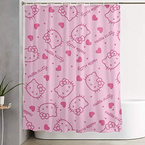 Blooming Shower Curtain with Hook - Pink Hello Kitty Head Waterproof Polyester Fabric Bathroom Decor 60 X 72 Inches