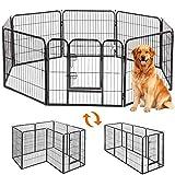 ドア付ペットフェンス ペットサークル 中大型犬用 ペットフェンス折り畳み式 組立簡単 ペットフェンス 全成長期使用 室内外兼用 カタチ可変更 (x-60*80cm)