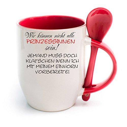 Creativ Deluxe Tasse m. Löffel Wir können nichtb alle Prinzessinnen Sein. Bürotasse - Motivtasse - Tasse mit Wunschmotiven