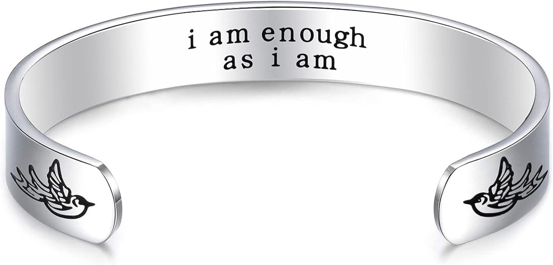 LParkin Inspirational Gifts for Women Bracelets I Am Enough Spiritual Encouragement Gift Cuff Bracelet for Woman Jewelry