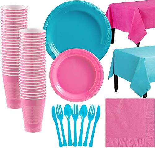 Party City Caribbean Blue and Bright Pink Plastic Tableware Kit for 50 Guests, 487 Pieces, Includes Tableware and Cups