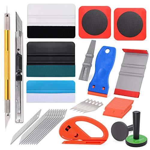 FOSHIO Auto Fenstertönungs-Werkzeugsatz enthält einen Kunststoff-Rasierschaber, einen Magnethalter, eine Metallplatte, Filz Rakel, EIN Universalmesser, Entgitternadel & Minimesser in einem Eerkzeug