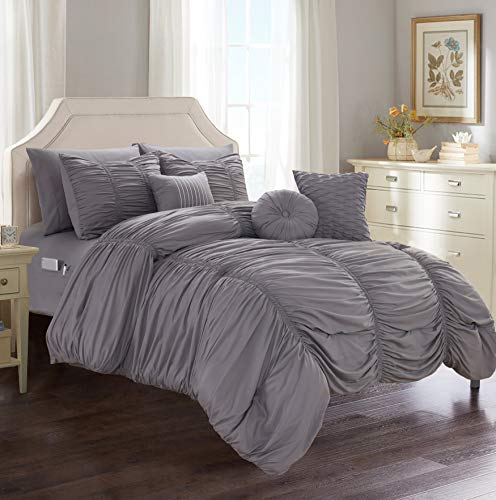Elegant Comfort Luxury Best, Softest, Coziest 10-Piece Bed-in-a-Bag Pleated Comforter Set, Ruched Ruffle Comforter Set Includes Bed Sheet Set with Double Sided Storage Pockets, King/Cal King, Grey