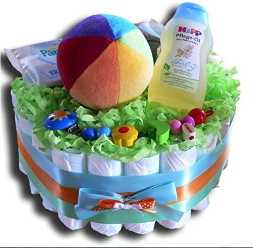 Tarta de pañales mágica – Tarta de pañales para niños o niñas, regalo neutral, para baby shower, bautizo, nacimiento, regalo