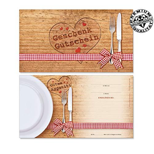 50 Stk. Hochwertige Gutscheinkarten Geschenkgutscheine. Motiv für Restaurant Gasthaus Gastronomie. Vorderseite hochglänzend. G1225