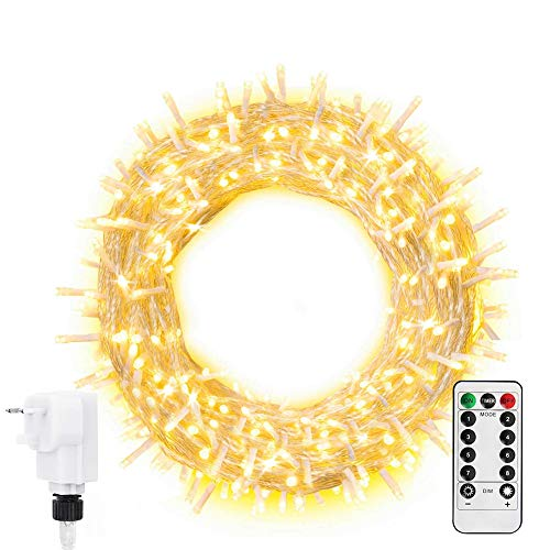 Ollny Fairy Lights 20m 200 LED Warm White Plug in, String Lights Mains Powered with Remote Control & Timer, 8 Modes for Bedroom Indoor Outdoor Garden Christmas Decorations