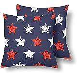 Pamela Hill Grunge Blue Red White Stars Dekokissen Covers 18 x 18 Set von 2, Kissen Kissenbezüge...