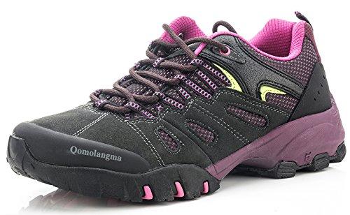 Qomolangma Women's Suede Hiking Shoes Walking Sneakers Outdoor Trail Trekking Shoes Grey/Purple
