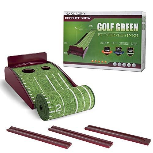 NAXOBOBO Putting Mat Golf Green Indoor and Outdoor with Auto Ball Return,Crystal Velvet Mat and...
