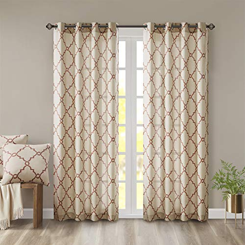 Madison Park Saratoga Window Curtain Light Filtering Fretwork Print 1 Panel Grommet Top Drapes/Valance for Living Room Bedroom and Dorm, 50x84, Spice