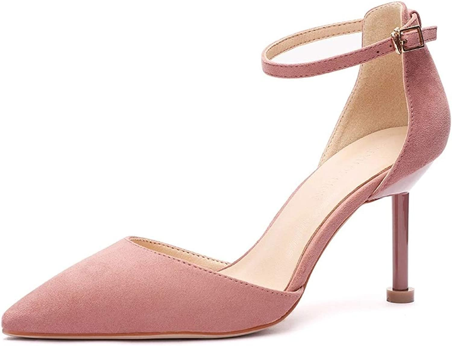 CHENSF Women's Pointed Toe High Heel Ankle Strap shoes