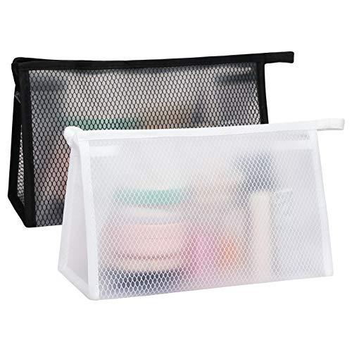 FYY Cosmetici Trasparente 2 Pezzi,Borsa per il trucco,Borsa da Toilette Viaggio,Beauty Case Waterproof con Cerniera in PVC Per Viaggi di Vacanza Pochette Cosmetici Sacchetto da Viaggio Organizer