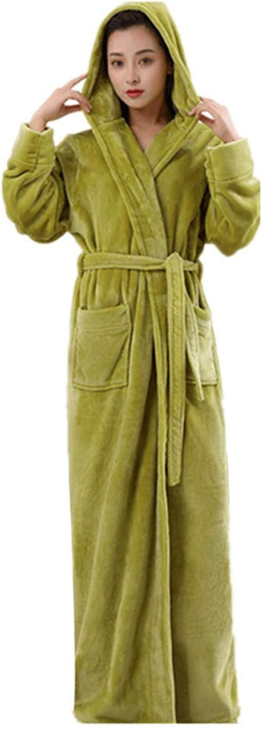 HONGNA Nightgown Autumn and Winter Coral Fleece Couple Dressing Gown Thick Long Flannel Bathrobe Home Service Pajamas (color   Green, Size   L)