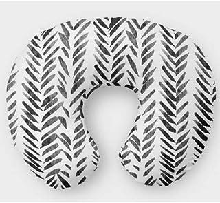 Monochrome Nursing Pillow Slipcover Neutral Nursery Baby Gift w/ 100% NonToxic USA Cotton/Minky