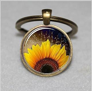 Llavero de girasol, Botánico Raven-Llavero, diseño de flores, llavero & # xFF0C; Regalo Único de llavero personalizado regalo & # xFF0C; Everyday clave Cadena