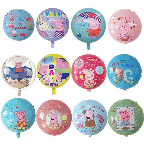 KRUCE 12 PC Globos de Papel de Fiesta de cumpleaños de Cerdos Rosados Lindos, Globos de Papel de Aluminio de Cerdos Rosados Lindos para Regalos de niños Suministros de Fiesta de cumpleaños Decoración