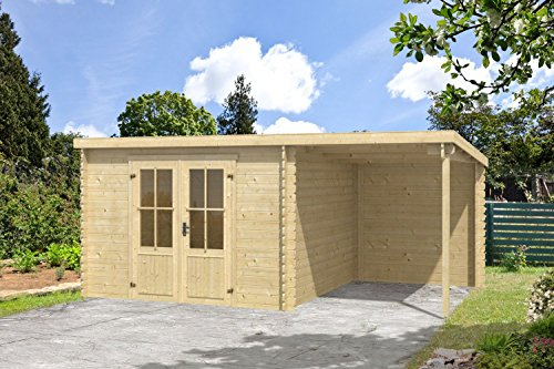 Gartenhaus G134-28 mm Blockbohlenhaus, Grundfläche: 14,05 m², Pultdach