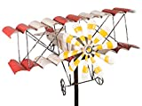 colourliving Windspiel Flugzeug Metall-Windrad Doppeldecker Shabby-Vintage Gartenstecker