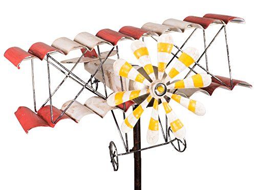 colourliving® windspel vliegtuig metalen windmolen dubbeldekker shabby vintage tuinsteker