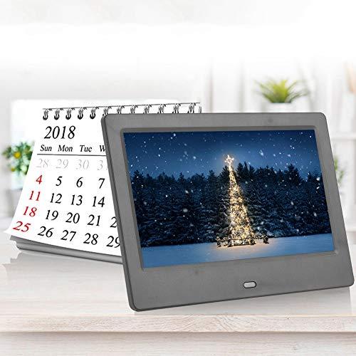 7-inch breedbeeld digitale fotolijst, 800 * 480 (16: 9) HD digitale fotolijst, intelligent elektronisch multifunctioneel fotoalbum, elektronisch horloge / kalender / U-schijfafstandsbediening (zwart EU)