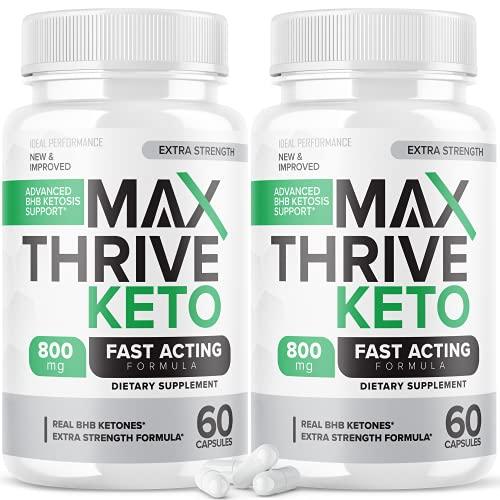 (2 Pack) Max Thrive Keto Pills Fast Acting Advanced Energy Ketones (120 Capsules)