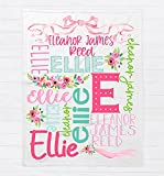 Personalized Baby Blanket for Girls with Name | Floral Custom Baby Blanket | Baby Girl Name Blanket |