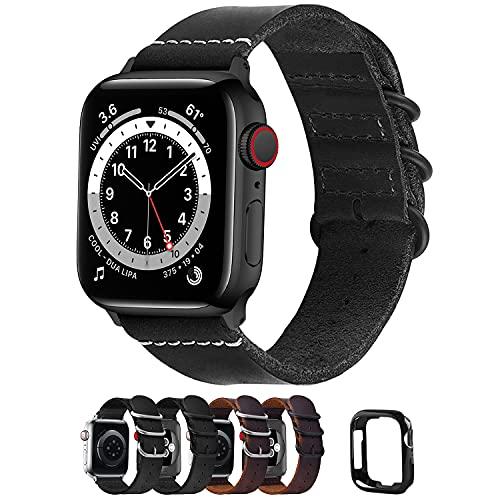 Fullmosa Correa de Apple Watch, Pulsera 38 mm 40 mm 41mm 42 mm 44 mm 45mm, Correa de Cuero NATO para iWatch SE, Series 7/6/5/4/3/2/1, Negro 42mm/44mm