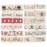 Atyhao Rubans Gros-Grain imprimés, 12pcs Gros-Grain et Ruban de Satin Assortiment Style Polyester Coton Ruban Dessin animé Impression Fait à la Main Bricolage Couture Cadeau vêtements Accessoires