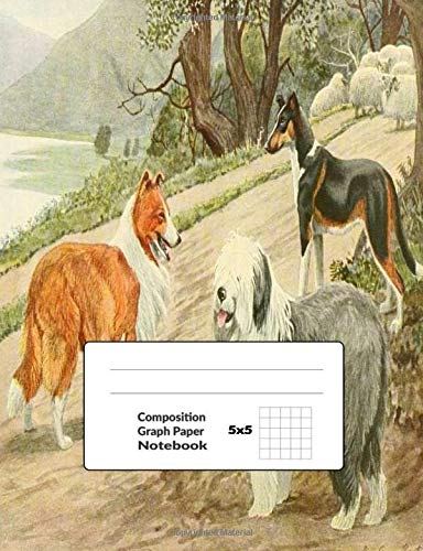 Composition Graph Paper Notebook 5x5: Dog Journal Quad Ruled Paper Workbook For Work and Notes 100 Pages, Size 7.44x9.69 in | 3 Dogs Print
