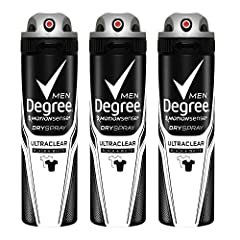 Degree Men Antiperspirant Dry Spray UltraClear provides advanced odor protection An antiperspirant body spray that offers protection against white marks on black clothes and yellow stains on white clothes A body spray for men that features MOTIONSENS...