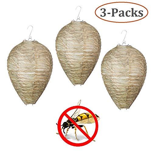 3Pcs Wespennest Attrappe, Simulierte Wespe Abschreckende Wirkung Hornet Repellent, Wespenvertreiber Schädlingsbekämpfung Ungiftige Hängende Laterne