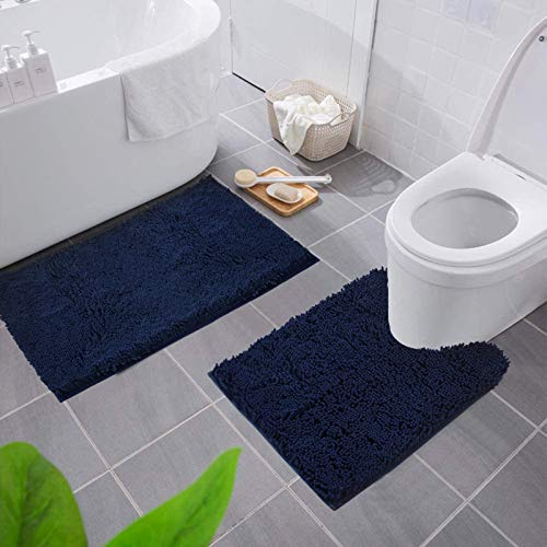 """Smiry Bathroom Rugs and Mats Set, 2 Piece Chenille Bath Mat and U-Shaped Toilet Rug Set, Machine Wash Non Slip Absorbent Shaggy Bath Rug for Shower and Bath Room (20"""" x 32""""+20"""" x 24"""", Charcoal Gray)"""