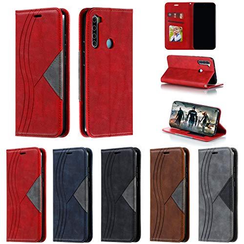 Hülle Handyhülle for Xiaomi Redmi Note 8, Premium Leder Flip Schutzhülle [Standfunktion] [Kartenfächer] [Magnetverschluss] lederhülle klapphülle für Xiaomi Redmi Note8 -TTYKB040428 Rot