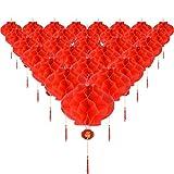 Tatuo 30 Stück Rotem Kunststoff Papierlaterne Rote Hängende Laternen für Chinesische Frühlingsfest Hochzeit Festliche Dekoration, 8,4 Zoll