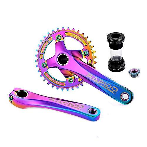 Juego Bielas Bicicleta Montaña 170 Mm, Manivela Una Pieza Hueca Color Deslumbrante 104BCD Soporte Inferior Y Plato Redondo Ancho Y Estrecho 32T / 34T / 36T / 38T, Repuestos para Bicicletas,32T