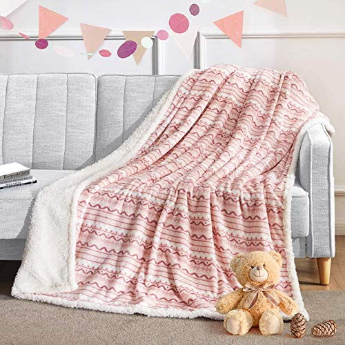 BEAUTEX Sherpa Fleece Throw Blanket for Young Girls Super Soft Fuzzy Cozy Plush Pink Sherpa Plush Throw Blanket for Kids Children Teens or Adult for Sofa Couch Bed (50
