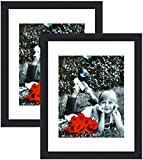 Tasse Verre 11x14 Picture Frame (Black 2-Pack) - HIGH Definition Glass Front Cover - Displays 11 by 14' Picture w/o Mat or an 8x10 Photo w/Mat - Vertical or Horizontal Mounts & Ready to Hang - Black
